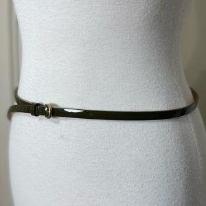 J. Crew Thin Olive Green Patent Leather Belt L